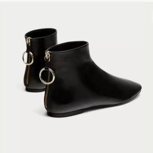 Zara Flat 100% Real Leather Boots